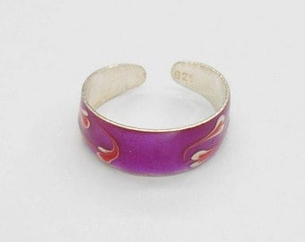Toe Ring, Sterling Toe Ring, Enamel Toe Ring, Silver Toe Ring, Sterling Silver Enamel Purple Orange White Toe Ring #1117