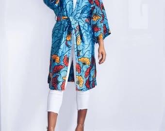 Wax + belt printed silk kimono
