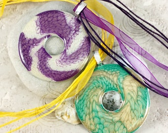 Fantasy dragonscale multi-coloured pendant - abstract honeycomb effect Pebeo and resin on washer - choice of purple or green