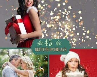 45 Glitter Overlays, Photoshop Overlay, Wedding Confetti, Bokeh Overlays, Christmas overlay, Blowing Glitter Dust, Holiday Digital Backdrop