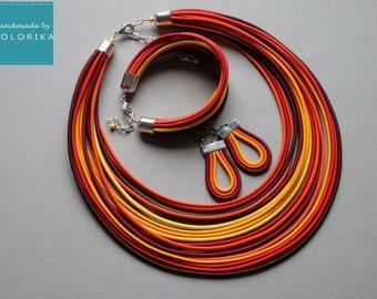 Orange jewelry set - African necklace -Tribal necklace - Orange necklace chunky - Statement necklace orange - 0range fiber bracelet