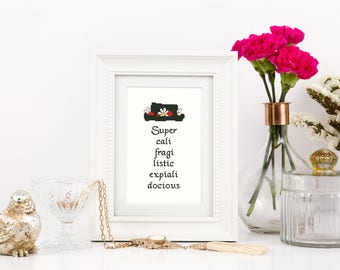 Mary Poppins Cross stitch pattern Silhouette Disney quote Supercalifragilisticexpialidocious Nursery Baby room Instant download PDF #376