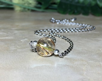 Copper Rutilated Quartz Necklace, 10mm Rutilated Quartz, Rutilated Quartz Choker, Stainless Steel Necklace, Healing, Rutilated Quartz