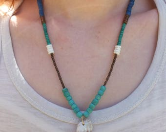 Necklace beads turquoise and shell