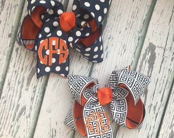 Navy and Orange Hair Bows for Girls, Houston Astros Hair Bows, Three-Initial Custom Monogram, Embroidery, Back to School Uniform Hair Bows