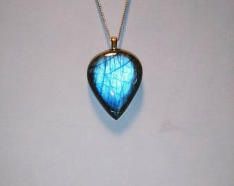 Labradorite Teardrop Pendant, Natural Blue Flash Labradorite Cabochon Necklace
