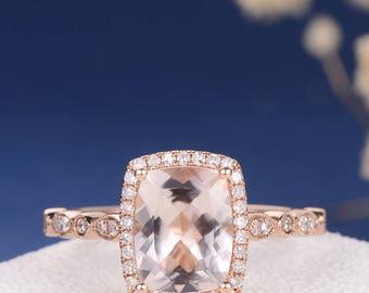 Rose Gold Morganite Engagement Ring Art Deco Antique Unique Cushion Cut Halo Diamond Eternity Leaf Women Band Wedding Bridal Mulitstone Gift