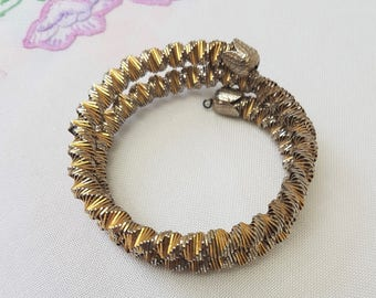 Vintage Wrap Around Bangle, Gold and Silver Tone