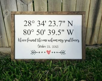 GPS Coordinates sign, Latitude and longitude sign, GPS Coordinates Gift, GPS Coordinates Wall Decor, wedding gift, Personalized Sign