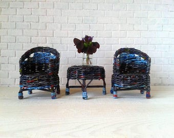 SALE! Paper wicker doll furniture set for fabric or rescued doll. Black and blue colors.