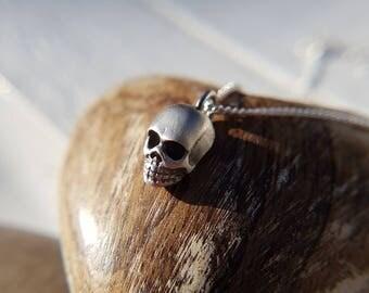 Skull pendant, Silver skull necklace, Solid skull,Oxidised skull,Anti valentines gift,Skull jewellery,Silver skull necklace,Halloween,Gothic