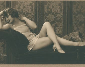 Risqué 1920's Little Lady II | Parisian Postcard | Photographer Mandel | French Erotica | Sweet Flapper in Silk Lingerie and Mules |