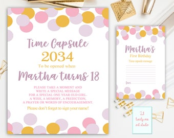 Confetti Time Capsule Sign, First Birthday Time Capsule, Confetti Time Capsule, First Birthday + Matching Note Cards, Printable Personalized