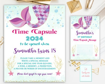 Mermaid Time Capsule Sign, Under the Sea Time Capsule Sign First Birthday, Time Capsule First Birthday + Matching Note Cards, Printable