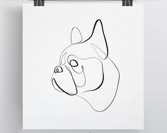 French Bulldog Print, French Bulldog Wall Art, Frenchie Art, One Line Drawing, French Bulldog Painting, French Bulldog Gift, Single Line