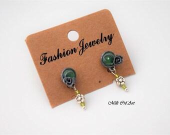 Stud Earrings silver plated rose flower green jade stone beads