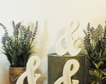 Ampersand, Wooden Ampersand, Wooden letter, Whitewashed, small accent piece in white, wooden words, Whitewashed letter, white ampersand,