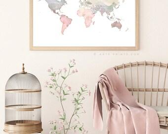 Nursery World Map Etsy - Large world map