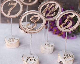 6 Wooden table numbers, wedding table numbers, Table number holder, Birch table numbers, Numbers on sticks,  Personalized table numbers