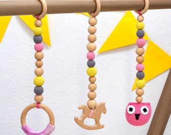 Baby Gym toy set, Natural wooden teething toys, Baby play gym toys Baby fitness center toys Gift for baby girl Newborn gift Gift for new mom