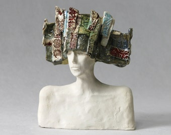 Ceramic Bust , Ceramic Sculpture ,  Fine Art Ceramic , Unique  , Art Object , Figurine , Handmade , Clay , Ceramic  Sculpture , Art