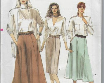 Vintage Very Easy Very Vogue Sewing Pattern 9973 Top  Petite Skirt Size 14 16 18  Uncut Factory Folded