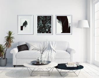 3 Gallery Wall Prints Set, Leaf Photo Poster Set, Scandi Living Room Decor, Scandinavian Photo Decor, Large Leaves Print Set, Wall Arranging