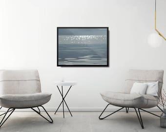 Modern Sea Art Print, Minimal Blue Poster, Coastal Wall Art Poster, Modern Sea Poster, Coastal Wall Art Print, Modern Nature Poster Gift