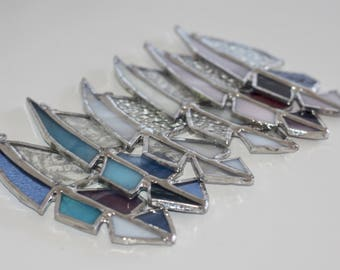 Little Stained Glass Feathers, Blue