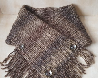 Adult's Cowl, Crossover short scarf, Handmade, Designed, Hand knitted, Brown chunky yarn, Recycled buttons, Tassels through Cowl, Easy wear