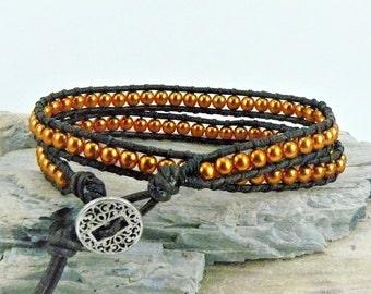 Copper Wrap Bracelet, Leather Wrap, Copper Bracelet, Beaded Wrap Bracelet, Leather Bracelet, Beaded Leather Wrap, Copper Jewelry, Multi Wrap