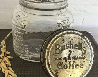 Bushells glass coffee jar Two available Rustic decor Vintage storage Farmhouse kitchen Vintage glass Price for one