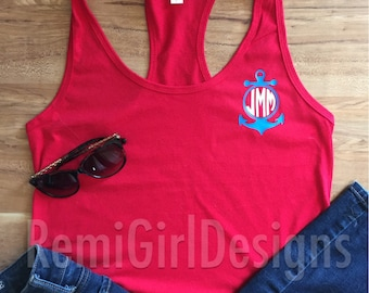 Monogram anchor, monogram anchor tank, anchor tank top, monogram tank top, summer monogram, anchor, custom tank top,personalized tank