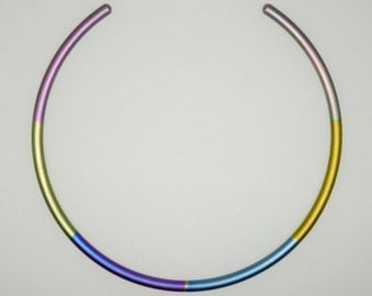 Anodized titanium choker/necklet. Commercially pure anodized titanium choker.