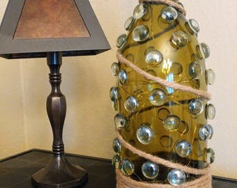 Recycled Magnum Wine Bottle with Micro LED lights inside.