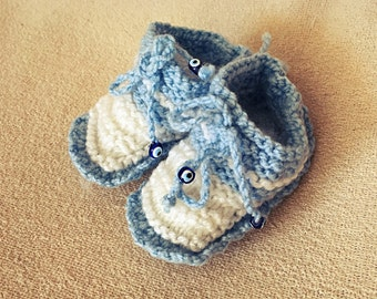 Blue Baby Booties Knitting Crib Shoes Newborn Gift Crochet Blue White Booties Worldwide Free Shipping Handmade Baby Shoes Baby Shower infant