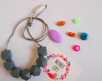 Grey Silicone Teething Necklace