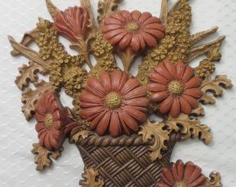 Vintage Burwood Orange Flower Wall Plaque Set of 2