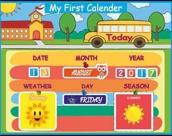 Montessori Kids Calendar, Waldorf Preschool Calendar for Kids,  Days of the Week, Home school Curriculum, Instant Download, Personalized