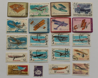 Set of 20 pcs  Postage Stamps -airplanes, air transport, Collecting, Philately # 15