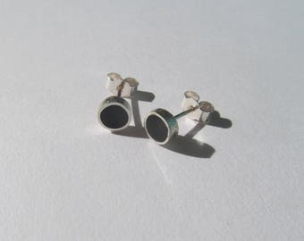 Sterling Silver Earrings with Black Resin