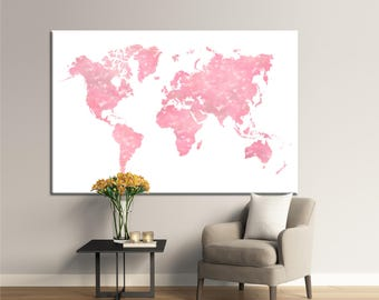 Large World map filled with pink hearts Canvas Panels Set ready to hang,Abstract World Map Print,Colorful Detailed Wall Decor Canvas Print.