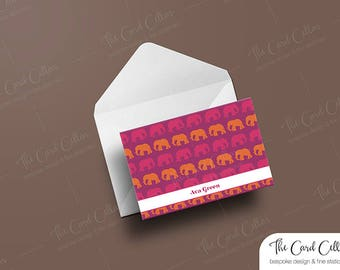 Personalized Note card, Custom Stationery, Folded Note card, Foldover Note card, Thoughtful, Gift, Elephant, Blank card