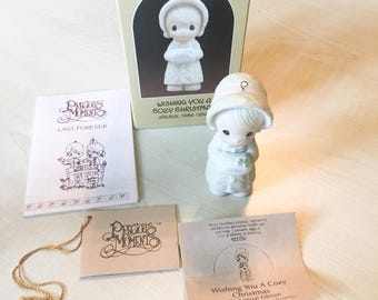 Vintage Precious Moments Wishing You A Cozy Christmas Special Edition 1986 Figurine 102326