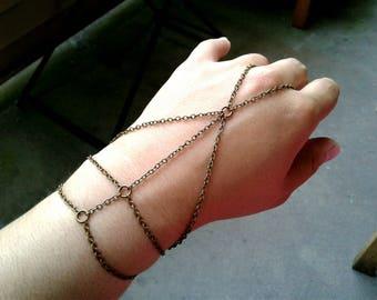 Caged Slave Bracelet Antique Brass Hand Chain Bohemian Slave Bracelet Caged Hand Chain Slave Bracelet Bohemian Hand Chain