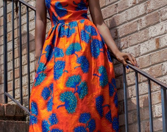 Ankara One Shoulder Maxi Dress