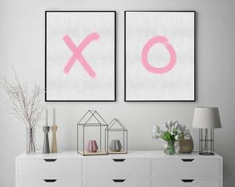 Girl X O Print Set,  Modern Nursery Wall Art,  Digital download, Pink Decor, Printable , Girls Nursery Prints, Digital Nursery Printable