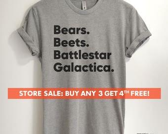 Bears, Beets, Battlestar Galactica T-shirt, Ladies Unisex Crewneck T-shirt, Funny Dwight Shirt, Short & Long Sleeve T-shirt