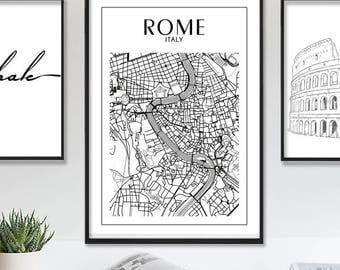 Rome, Rome Poster, Printable Wall Art, Italy Print, Map Print, Rome Print, Rome City Map, Rome Wall Art, Map of Rome, Instant Download