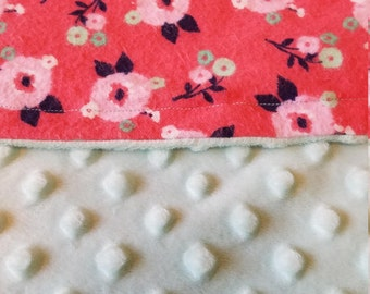 Pink and Blue Floral Minky Baby Blanket